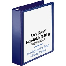 "Business Source Easy Open Nonstick D-Ring View Binder - 2"" Binder Capacity - Letter - 8 1/2"" x 11"" Sheet Size - D-Ring Fastener(s) - 4 Pocket(s) - Polypropylene - Navy - Non-stick"