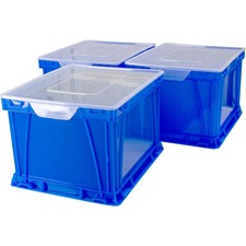 """Storex Storage and Filing Cube - External Dimensions: 17.3"""" Length x 14.3"""" Width x 10.5"""" Height - 50 lb - 35.02 L - 3500 x Sheet, 3000 x Legal Paper - Stackable - Plastic - Blue - For Letter, File, Hanging Folder - 1 Each"""