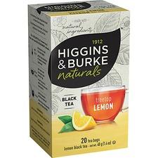 Higgins & Burke Naturals Lemon Tea - Black Tea - Ceylon, Kenya, Orange Peel, Lemon Grass, Natural Lemon, Citrus - 0 oz Per Bag - 20 / Box
