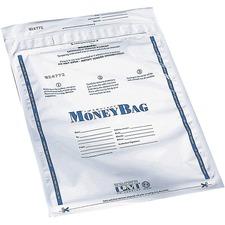"ICONEX 9x12 Disposable Deposit Bags - 9"" (228.60 mm) Width x 12"" (304.80 mm) Length - White - Plastic - Money"