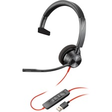 Poly Blackwire 3310, USB-A - Mono - USB Type A - Wired - 32 Ohm - 20 Hz - 20 kHz - On-ear - Monaural - Noise Cancelling Microphone