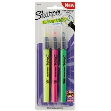 Sharpie Clear View Highlighter Stick, Chisel Point, Assorted Colors, Pack Of 3 - Chisel Marker Point Style - Green - 3 Card