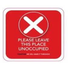 Optimum Graphiques Information Sign - 10 / Pack - PLEASE LEAVE THE PLACE UNOCCUPIED Print/Message - Round Shape - Removable, Rounded Corner