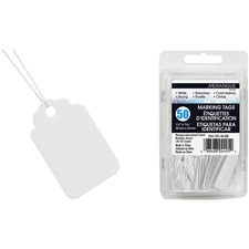 "Merangue Marking Tag - 1.50"" (38.10 mm) Length x 0.94"" (23.81 mm) Width - Rectangular - String Fastener - 50 / Pack - White"