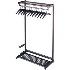 "Quartet Two-Shelf Garment Rack, 12 Hangers, Black, 36"" - 61.5"" Height x 36"" Width - Floor - 1 Each"