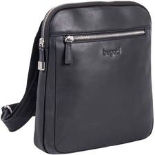 """bugatti SARTORIA II Carrying Case Tablet - Black - Leather, Top Grain Leather, Full Grain Leather - Bugatti Embossed Logo - Shoulder Strap - 11"""" (279.40 mm) Height x 3"""" (76.20 mm) Width x 10"""" (254 mm) Depth - 1 Pack"""