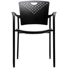 Horizon MaxX StaxX A118A Stacking Chair - Black Polypropylene Seat - Black Polypropylene Back - Steel Frame - Four-legged Base - Armrest - 2 / Box