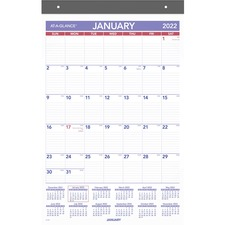 """At-A-Glance Monthly Wall Calendar - Monthly - 1 Year - 14.9"""" Width - Reference Calendar, Adhesive Backing, Repositionable"""