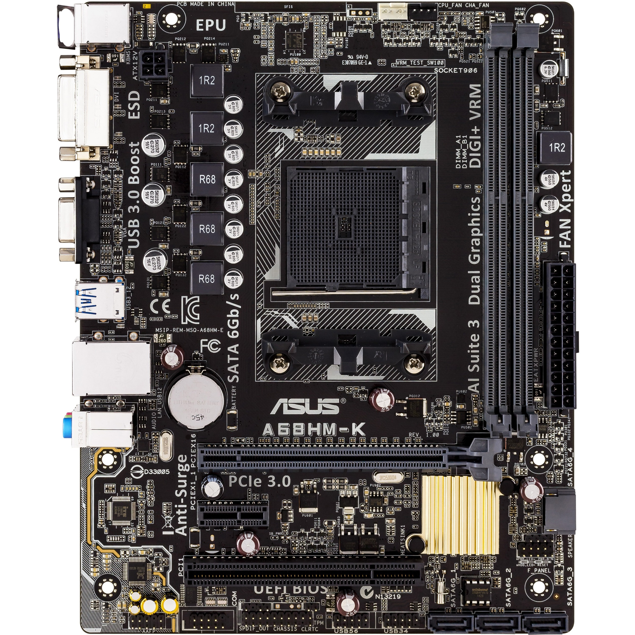 Asus A68HM-K Desktop Motherboard - AMD A68 Chipset - Socket FM2plus - Micro ATX - 1 x Processor Support - 32 GB DDR3 SDRAM Maximum RAM - 2.40 GHz O.C. Memory Speed Supp