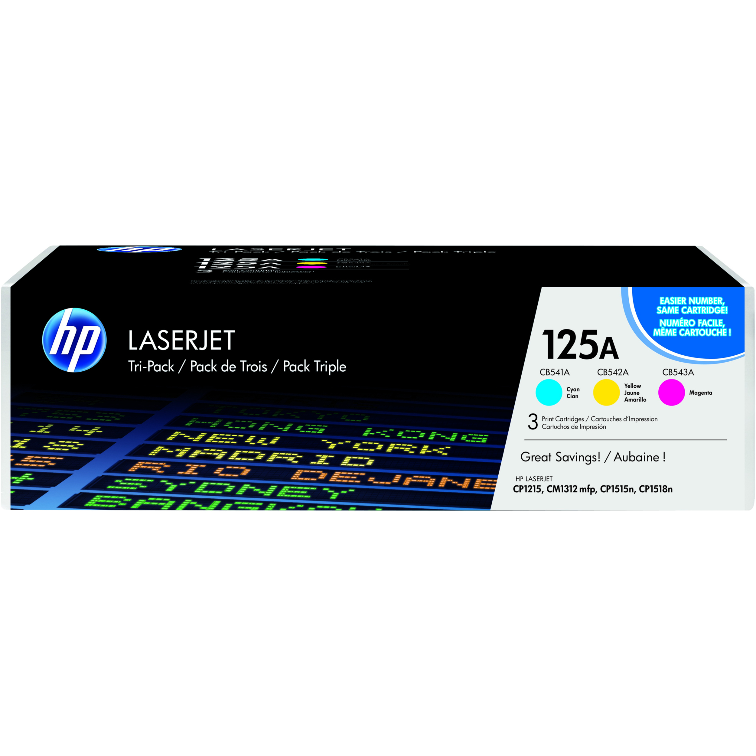 HP 125A Toner Cartridge - Cyan, Yellow, Magenta - Laser - 1400 Page - 3 Pack