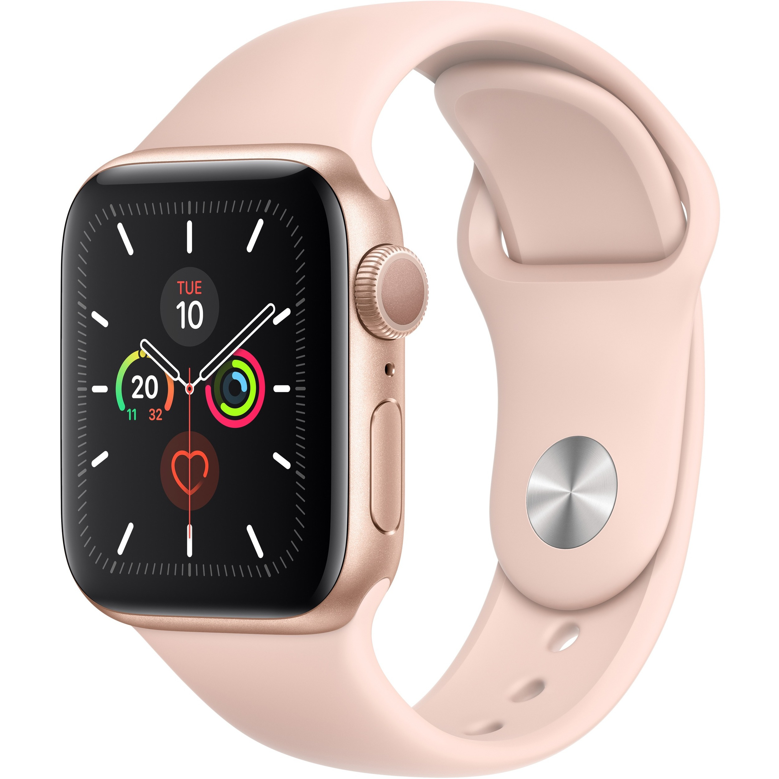 Apple Watch Series 5 Smart Watch - Wrist Wearable - Gold Aluminum Case - Pink Sand Band - Aluminium Case