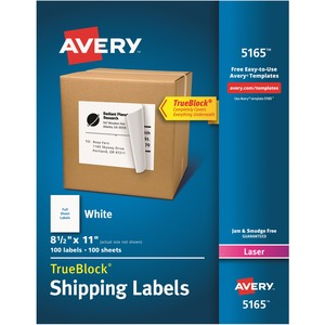 "Avery® TrueBlock  Shipping Labels 11"" x 8-1/2"" (100 Labels) Laser White 100 sheets/box"