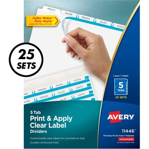 Avery® Index Maker® Clear Label Dividers 5-Tabs 25 sets/box