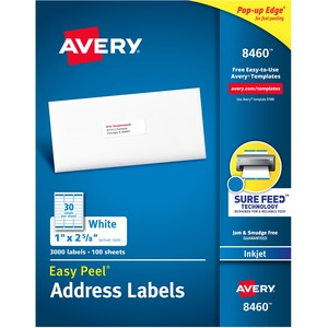 "Avery® Easy Peel® Address Labels 1"" x 2-5/8"" (3,000 Labels) Inkjet White 100 sheets/box"