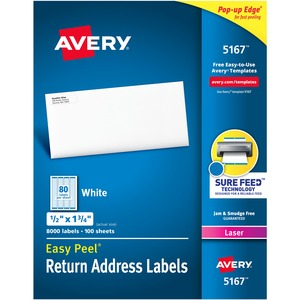 "Avery® Easy Peel® Address Labels 1/2"" x 1-3/4"" (8,000 Labels) Laser White 100 sheets/box"