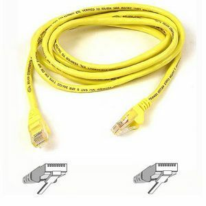 25ft Cat5e Yellow Crossover Cable Snagless