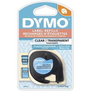 "DYMO® LetraTag® Replacement Tape 1/2"" Black on Clear"