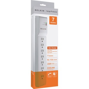 Belkin Office Series 7out Strip $100k Cew 6ft Cord Jr11 Sfcov Cablemgt / Mfr. No.: Be107200-06