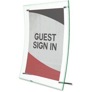 """Deflecto® Superior Image® Clear Sign Holder Curved w/Green Tinted Edge 8-1/2x11"""""""