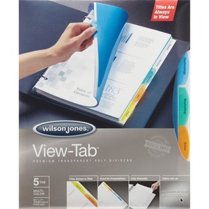 Wilson Jones® View-Tab® Transparent Dividers 5-Tabs Assorted Colours
