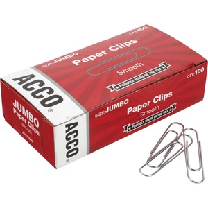 Acco Smooth Economy Paper Clips, Steel Wire, Jumbo, Silver, 100/Bx
