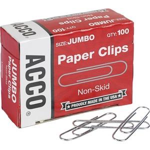 """ACCO® Paper Clips #4, 2"""" Corrugated 100/box"""