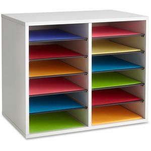 Safco® Wood Adjustable Literature Organizer 12 Compartment Grey