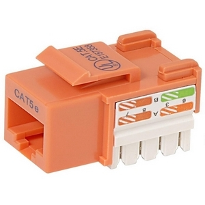 25pk Cat5e Orange Keystone Jack 568a/568b / Mfr. No.: R6d024-Ab5eor25