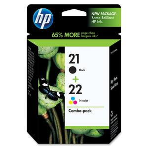HP Inkjet Cartridges C9509FC #21 & 22 Black and Colour 2/pkg