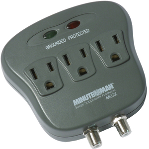 3-Outlet Surge Protector W/Coax 15a 120v 1800 Watts 1080 Joules / Mfr. No.: Mms130c