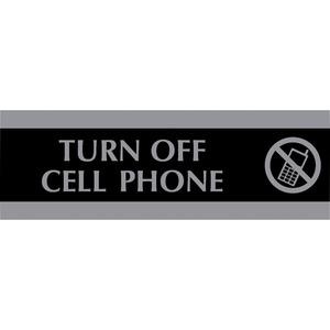 "Headline® Century Sign Turn Off Cell Phone 3"" x 9"" Black"