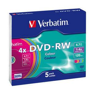 Verbatim Colours - 5 x DVD-RW - 4.7 Go - 43563