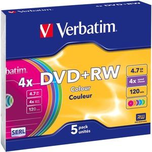 Verbatim - 5 x DVD+RW - 4.7 Go 4x - boîtier CD étroit - 43297