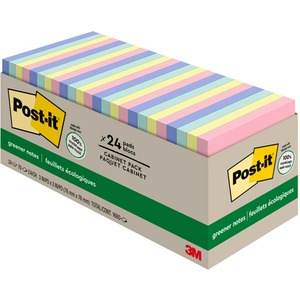 "Post-it® Recycled Notes Cabinet Pack 3"" x 3"" 75 sheets per pad Assoted HelsinkiColours 24 pads/pkg"
