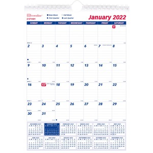 """Brownline® Wall Calendar Monthly 8x11"""" English"""
