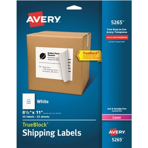 "Avery® TrueBlock  Shipping Labels 11"" x 8-1/2"" (25 Labels) Laser White 25 sheets/pkg"