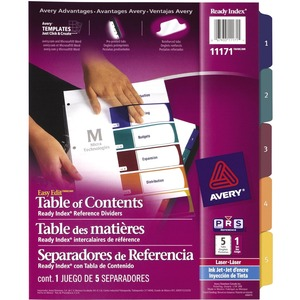 Avery® Ready Index® Table of Contents Dividers Easy Edit 1-5