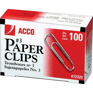 "ACCO® Paper Clips #3, 15/16"" Smooth 100 per box 10 boxes/pkg"