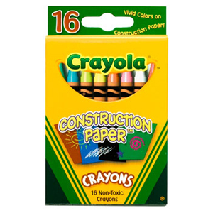Crayola® Contstruction Paper Crayons Assorted Colours 16/pkg