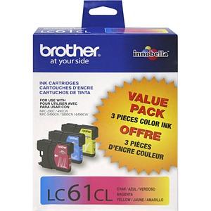 Brother® Inkjet Cartridges LC613PKS Cyan, Yellow, Magenta 3/pkg
