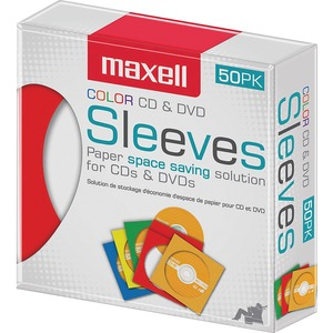 Maxell CD/DVD Sleeves Assorted Colours 50/pkg