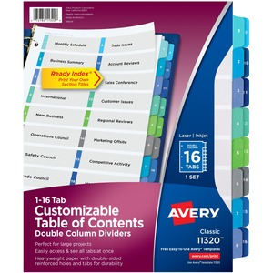 """Avery® Ready Index® Table of Contents Double Column Dividers 1-16 11"""" x 8-1/2"""""""