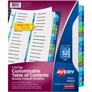 "Avery® Ready Index® Table of Contents Double Column Dividers 1-32 11"" x 8-1/2"""