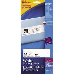 "Avery® Mailing Labels Mini-Sheets 4"" x 1-1/3"" White 150/pkg"