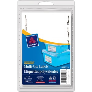 """Avery® Print or Write Multi-Use Removable Labels 3"""" x 2"""" 153/pkg"""