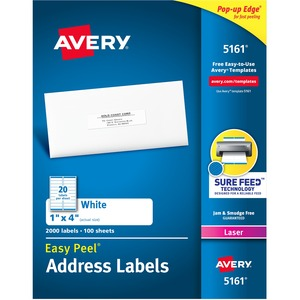 "Avery® Easy Peel® Address Labels 1"" x 4"" (2,000 Labels) Laser White 100 sheets/box"