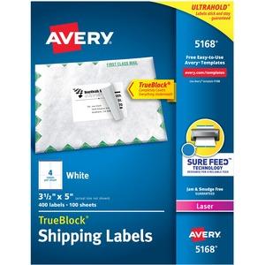 "Avery® TrueBlock  Shipping Labels 3-1/2"" x 5"" (400 Labels) Laser White 100 sheets/box"