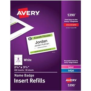 "Avery® Name Badge Card Refills 3-1/2"" x 2-1/4"" White 50 shts/pkg 400 cards/box"