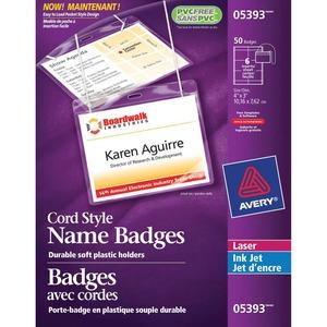 "Avery® Name Badge Kit Cord Holder 3"" x 4"" 50/box"