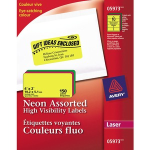 "Avery® Neon High Visibility Labels 4"" x 2"" (150 Labels) Laser Assorted Colours 15 sheets/pkg"